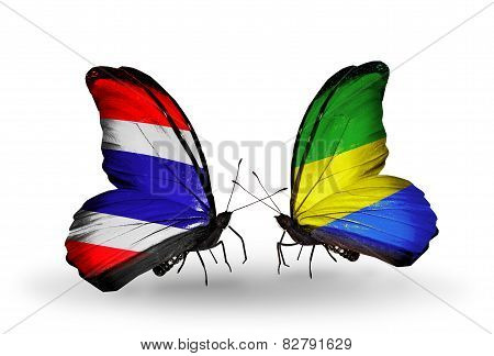 Two Butterflies With Flags On Wings As Symbol Of Relations Thailand And Gabon