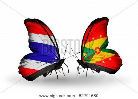 Two Butterflies With Flags On Wings As Symbol Of Relations Thailand And Grenada