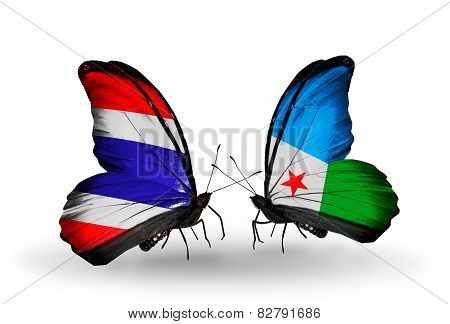 Two Butterflies With Flags On Wings As Symbol Of Relations Thailand And Djibouti