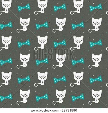 Hipster cat on gray, seamless background.