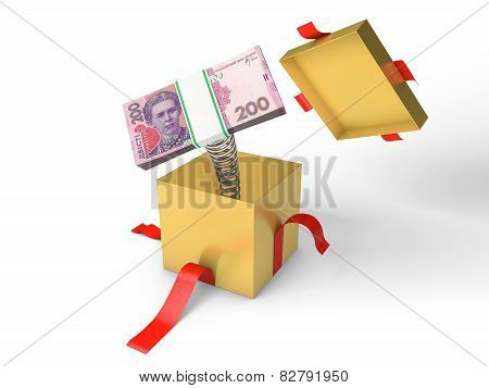 The stack of ukrainian money jumps out of a gift box on a spring