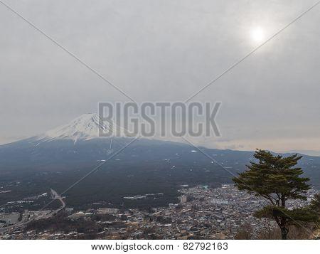 Volcano Mount Fuji And The Sun