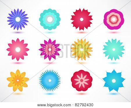 set of vector colorful flower icons
