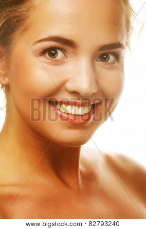 young smiling woman with healthy skin