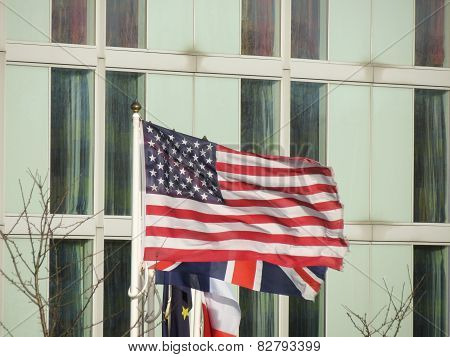 Usa Flag And Uk Flag
