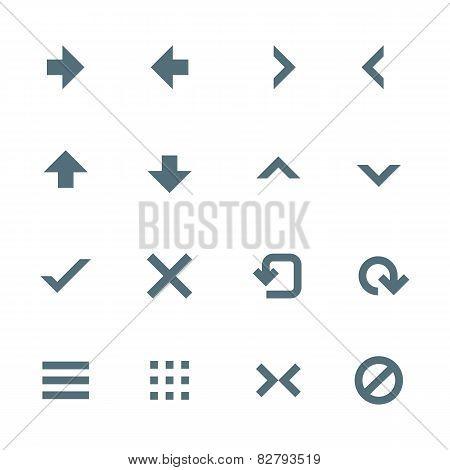 solid grey various navigation menu buttons icons set