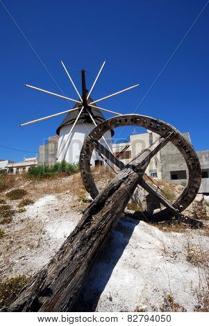 Grinding wheel and Windmill, Spain.