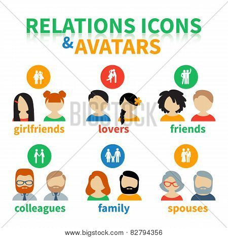 Bright icons and avatars social relations