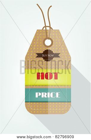 One seasonal, dotted sticker with text Hot Price, Buy Now, flat style
