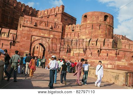 Entrance Gates Of The Agra Fort In Agra, Uttar Pradesh, India