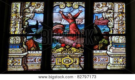 Jonah And The Whale - Stained Glass Window