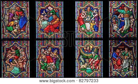 Scenes In The Life Of Moses - Stained Glass In Dom Of Cologne