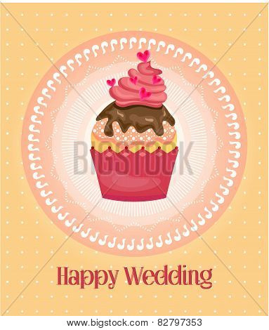 Cupcake on dotted background, text Happy Wedding