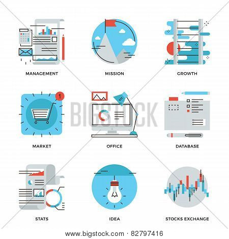 Modern Business Management Line Icons Set