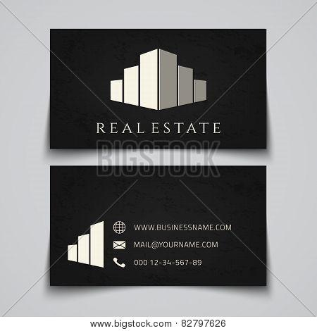 Busines card template. Real estate logo