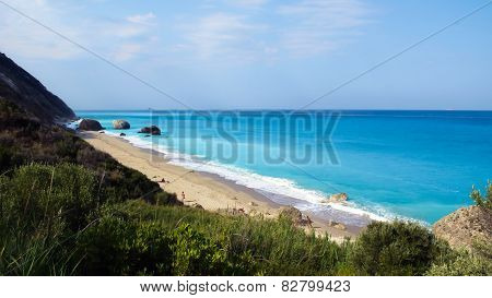 Megali Petra Beach, Lefkada Island, Levkas, Lefkas, Ionian Sea, Greece