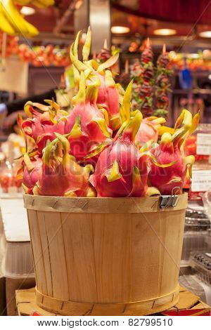 Pitaya fruit at La Boqueria market