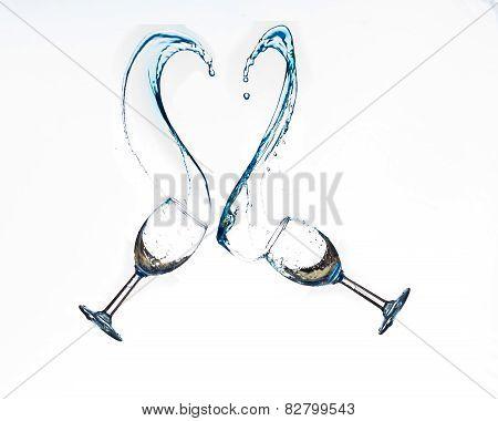 Heart shaped wine splash