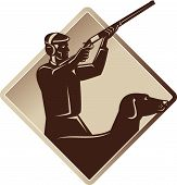 picture of rifle  - Illustration of a hunter aiming shooting shotgun rifle with retriever dog in silhouette done retro style set inside diamond shape - JPG