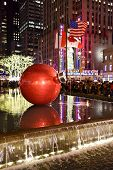 pic of rockefeller  - NEW YORK CITY - DEC. 25 2014: New York City landmark Radio City Music Hall in Rockefeller Center decorated with Christmas decorations in Midtown Manhattan NYC.