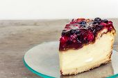 pic of cheesecake  - Cheesecake with strawberries on a transparent plate - JPG