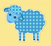 picture of baby sheep  - Cute vector patchwork sheep - JPG
