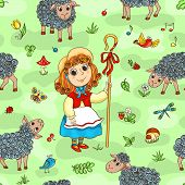 image of shepherdess  - Seamless pattern with shepherd - JPG