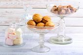 pic of biscuits  - Sweet pastry balls with caramel filling biscuits and other sweets - JPG