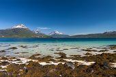 stock photo of lofoten  - Picturesque sandy beach on Lofoten islands in Norway on sunny summer day - JPG