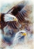 image of airbrush  - beautiful airbrush painting of two eagles on an abstract background one stretching his black wings to fly on abstract background fractal efect - JPG