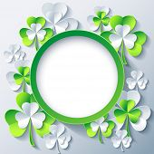 stock photo of clover  - Beautiful trendy round frame with green  - JPG