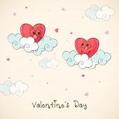 image of corazon  - Cute funny red hearts on clouds for Happy Valentine - JPG