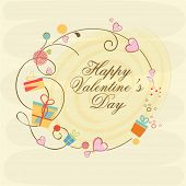 picture of corazon  - Colorful gifts and pink hearts decorated frame with text Happy Valentine - JPG