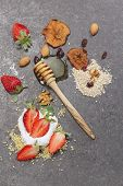 image of dry fruit  - Variety of an assortment of different muesli with nuts - JPG