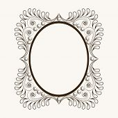 image of oval  - Beautiful floral design decorated frame in oval shape - JPG