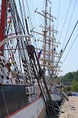 image of sailing vessel  - Mast and guy cables of sailing vessel - JPG