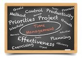 pic of time study  - detailed illustration of a Time Management wordcloud on a blackboard - JPG