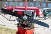 image of glider  - the petrol engine glider with a propeller closeup - JPG