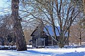 foto of log cabin  - Log cabin secluded on a snow covered bright sunny winter day - JPG