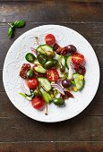 stock photo of kalamata olives  - Mediterranean salad with olives and caper berries - JPG