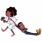 pic of angry  - Angry bride drags the groom to get married - JPG
