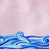 picture of texture  - Vector pink watercolour background with watercolor waves - JPG