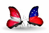 picture of samoa  - Two butterflies with flags on wings as symbol of relations Latvia and Samoa - JPG