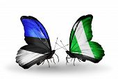 stock photo of nigeria  - Two butterflies with flags on wings as symbol of relations Estonia and Nigeria - JPG