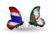 picture of algeria  - Two butterflies with flags on wings as symbol of relations Thailand and Algeria - JPG