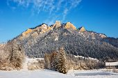 stock photo of pieniny  - Winter landscape in Pieniny Mountains Three Crowns Poland