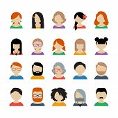 image of avatar  - Collection of 20 colorful different user icons for people of different sex - JPG