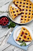 picture of cherry pie  - Homemade cherry pie on wooden table - JPG