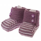 foto of booty  - Handmade pink baby booties isolated on a white background - JPG