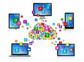 picture of computer  - 3D Computer devices isolated on white with apps icons - JPG